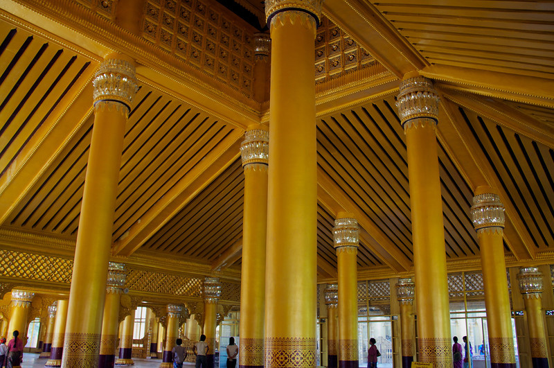 Columns And Ceiling In The Main Entrance Kanbawzathadi Palace  Bago, Burma 25 December 2012