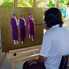 Painter In Action Min Yan Naing Galerie Htein Lin Thar Lintha Village  Ngapali, Burma 30 November 2012