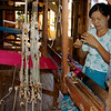 Weaver Selecting Blue Thread Ko Than Hlaing Silk Weaving Shop In Paw Khone Village  Inle Lake, Burma 30 October 2013
