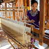 Weaver In Action Ko Than Hlaing Silk Weaving Shop In Paw Khone Village  Inle Lake, Burma 30 October 2013