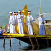 Karaweik Royal Barge Crew And Gold Hintha Bird Phaung Daw Oo Pagoda Festival  Inle Lake, Burma 30 October 2013