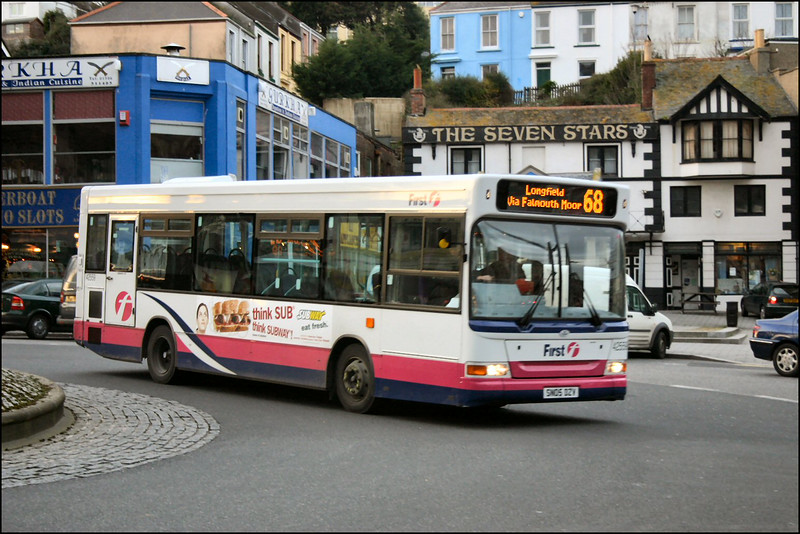 First Devon & Cornwall Dart 42559 (SN05DZF) heads out from The Moor at Falmouth on service 68 to Longfield - 24 January 2006.