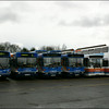 A variety of different Stagecoach Hants & Surrey Darts and liveries, including a Volvo Olympian, in Aldershot Depot - 7 March 2004.