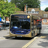 Stagecoach Hants & Surrey Goldline MAN 22756 (GX11AKZ), exits Farnborough Station on service 1 to Camberley – 12 July 2012.