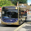 Stagecoach Hants & Surrey Goldline MAN 22750 (GX58MVO), exits Farnborough Station on service 1 to Camberley – 12 July 2012.