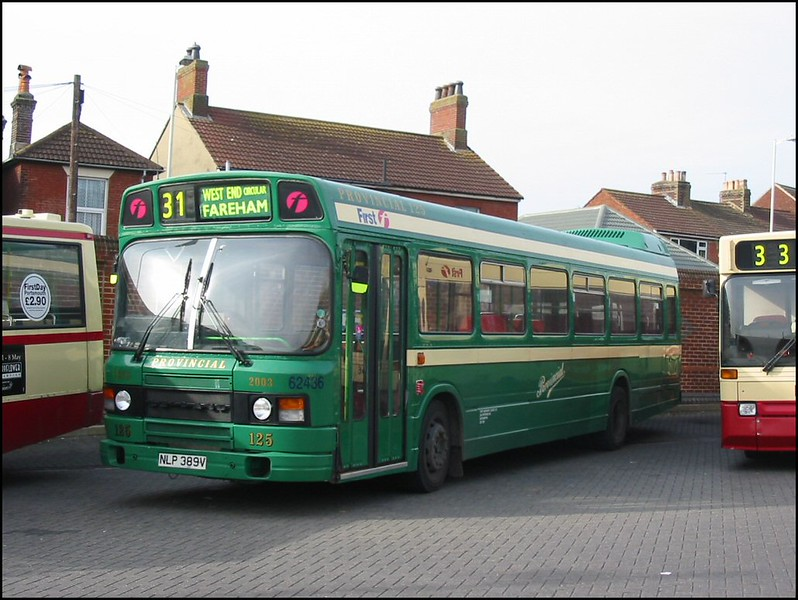 First Hampshire & Dorset Leyland National 62436 (NLP389V), repainted into Provincial green livery, lays over in Fareham Bus Station - 24 February 2004.
