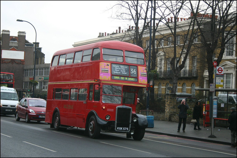 Another vehicle used on the last day of route 36 crew operation was Blue Triangle's Leyland RTW 75 (KGK575), seen here about to turn into New Cross Garage - 28 January 2005.