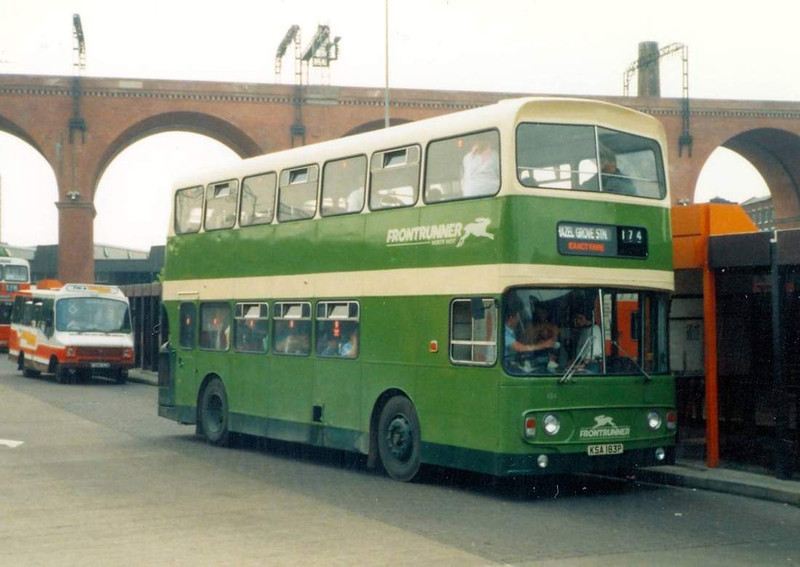 Fora time following deregulation East Midland operated in parts of Greater Manchester and north west Derbyshire under the name Frontrunner North West. Alexander bodied Leyland Atlantean AN68A/1R 434 (KSA183P) is seen on 17th June 1989 in Stockport Bus Station.