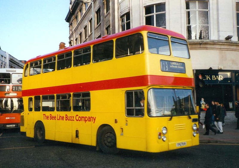 The bus behind C-Line TPU72R (seen earlier in this gallery) was Bee Line 665 (TPU70R), another ex Colchester ECW bodied Atlantean. Piccadilly, 8th January 1993