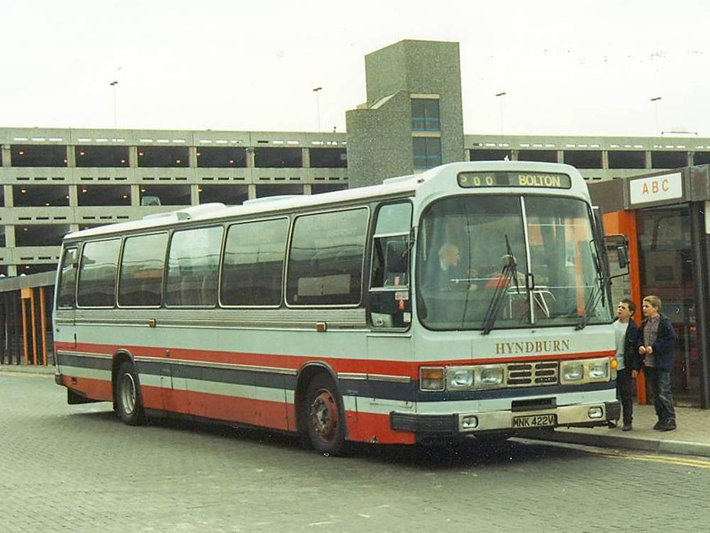 More usual Hyndburn fare for route 500 was MNK422V, a Duple bodied Leyland Leopard seen at Manchester Airport