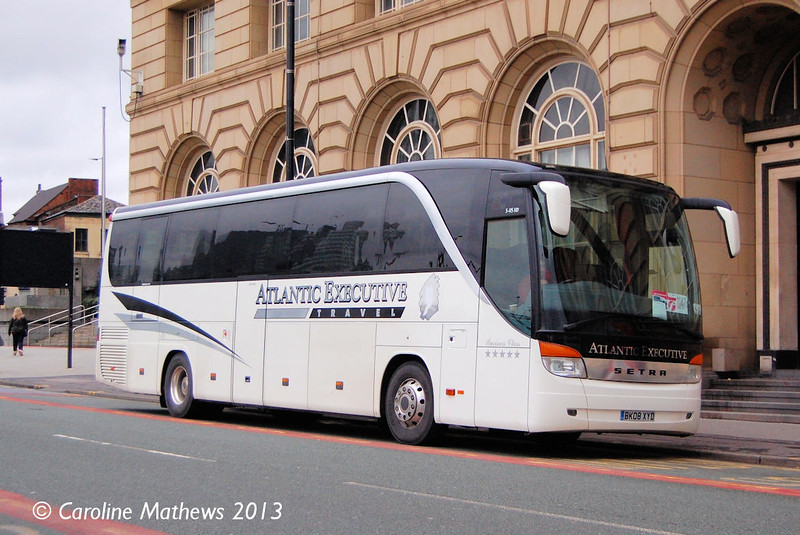 Parked on Corporation Street on 7th December was Atlantic Travel BK08XYD, a Kassbohrer Setra S415HD.