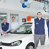2/9/14 -- Cars_PresidentsDay -- The showroom at Atamian Honda located at 150 Main St. in Tewksbury. From left are Mark McManus, Chris Rodriguez, Jay Nicosia, Ray LeDuc, and Kevin Richardson. (SUN/Ashley Green)