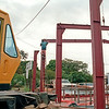 1985. Vic  Mabin crane lifts the steel shed components into position. Brian Harris took the 'birds eye' type photos from on top of the Farmers Centre roof. All photos on Kodak colour 35mm film with Brians Nikon FG fitted with a Nikkor 28-85mm zoom lens.