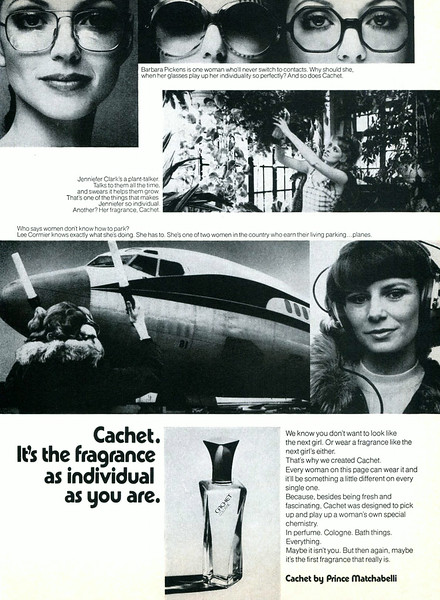 CACHET by PRINCE MATCHABELLI 1975 US 'It's the fragrance as individual as you are'