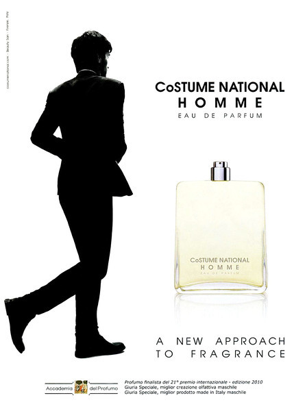 COSTUME NATIONAL  Homme Eau de Parfum 2009 Italy 'A new approach to fragrance' (with Accademia del Profumo logo)