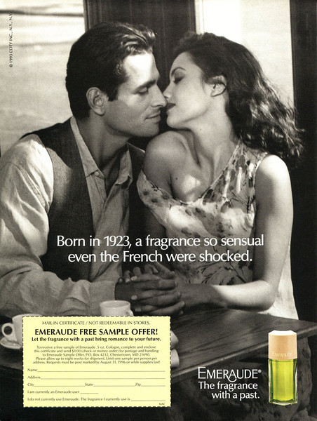 COTY Emeraude 1993 US 'Born in 1923, a fragrance so sensual even the French were shocked - Emeraude   The fragrance with a past'
