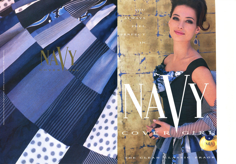 COVER GIRL Navy US 1991 (recto-verso lacking the scented strip)  'You always feel perfect in    Cover Girl - The clean classic fragrance'