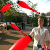 Anna Penniman, a grad student at UMW practices juggling on campus. The group is attempting to get club status. <br /> Photographed April 19, 2010. (Photo by Norm Shafer).
