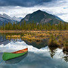 Canoe near Vermilion Lakes and Mount Rundle