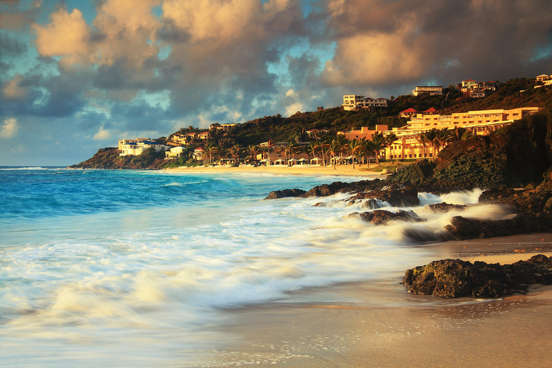 Morning seas on the rocks at Dawn Beach, St. Maarten