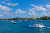 Sailboats in the bay at the Red Hook marina in St. Thomas, US Virgin Islands, Caribbean, West Indies.