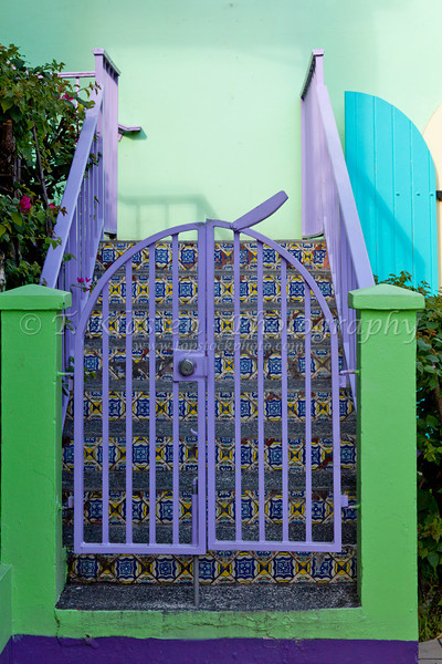 Colorful buildings with door and window architecture  in St. John, US Virgin Islands, Caribbean.
