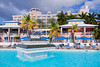The pool area at the Marriott resort in St. Thomas, US Virgin Islands, Caribbean, West Indies.