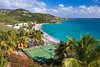 Seaside tennis courts at the Marriott Resort in St. Thomas, US Virgin Islands, Caribbean, West Indies.