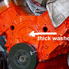 thick washer timing cover bbc