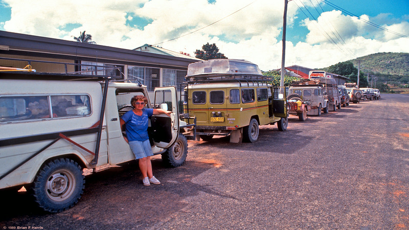 Barbara drove the Diahatsu with manual gears and 'arm-strong' steering from Cairns to tip and back.