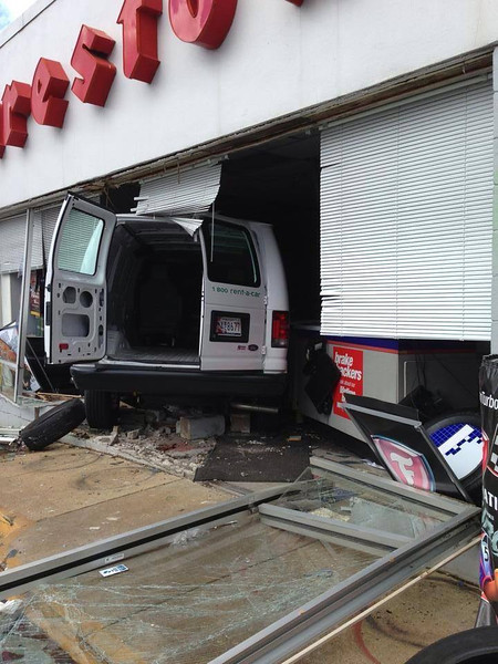Van hits Firestone Bel Air (2)