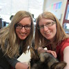 Jessica and Brenna with the lost dog.