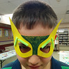 A young Wolverine shows off superhero mask at Castle Down's Masks of Mystery program.  31/3/2014