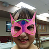 Super Hearts shows off her superhero mask at Castle Down's Masks of Mystery program.  31/3/2014