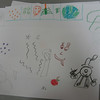 Here is some freehand drawing one of the kids did, including an elephant, an apple, and some stars.