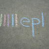 The EPL logo in chalk.