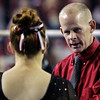 Georgia assistant coach Philip Ogletree talks with Christa Tanella during a NCAA gymnastics meet in Athens, Ga., Thursday, Feb. 2, 2013. (Evan Stichler, evansan8@gmail.com)