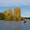 Man kayaking on Lake Burley Griffin, Canberra