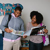 "University of Rochester students Reginald Hooks (left), and Sequoia Kemp consider study abroad options in the Office of Minority Student Affairs, Dewey Hall, University of Rochester, River Campus. <br /> <br /> Photo by Brandon Vick, University of Rochester<br /> <a href=""http://www.rochester.edu/"">http://www.rochester.edu/</a>"