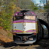 MBTA 1070 through the Walpole tunnel on the Franklin Line.
