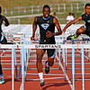 0510_SPO_IDB-L-SANANDREASTRACK-01-ME<br /> <br /> From left, Trevor James, Tahir Rashed-Mills, and Kichion Darby, all of San Gorgonio High School, compete in the 110 hurdles during the San Andreas League track and field finals on Friday, May 9, 2014 at San Gorgonio High School in San Bernardino, Ca. Rashed-Mills placed fist, James placed second and Darby placed third in the event. (Micah Escamilla/Inland Valley Daily Bulletin)