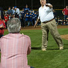 Baseball legend, Tommy Lasorda , throws the first pitch  to Upland city council member Gino Fillipi, during Upland Foothill Little League during opening night,  at San Antonio Park in Upland, on Friday, March 7, 2014. (Photo by Frank Perez for the Inland Valley Daily Bulletin)