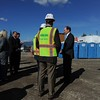 Secretary of Veterans Affairs Robert McDonald, center, visits the construction site of the new Ambulatory Care Center on Tuesday, January 27, 2015 in Loma Linda, Ca. The new center will provide services such as primary care, women's health, prosthetics, mental health, dental and imaging. (Photo by Micah Escamilla/The Sun)