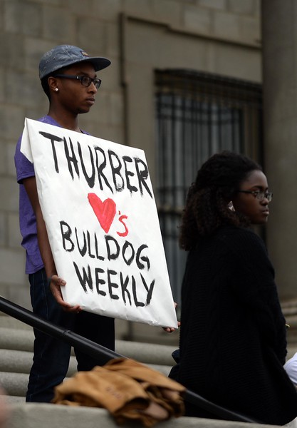 Students gather on the steps of the Administration Building protesting the hiatus of the campus paper, the Bulldog Weekly, on Tuesday, January 20, 2015  at the University of Redlands in Redlands, Ca.   (Photo by Micah Escamilla/Redlands Daily Facts)