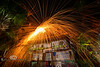 Fireworks Show above the Hideaway Tiki Bar - Cedar Key Florida - Photo by Pat Bonish