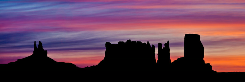 """Monument Valley Panorama at Dawn"""