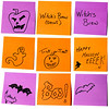 Nine post-it notes with a Halloween theme.