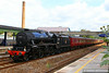 "45407 heads west through Totnes on the:<br /> 1Z37 08:12 Bristol Temple Meads to Par ""The Royal Duchy""<br /> <br /> 29/06/14"