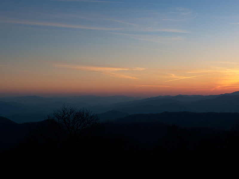 Blue Ridge Mountains overlooking Cherokee, North Carolina at sunset