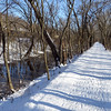Winter snow scene on C&O Canal along mile 53